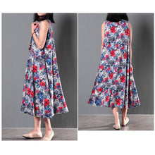 Load image into Gallery viewer, Two pieces Navy coat cardigan and floral sundress summer linen clothing