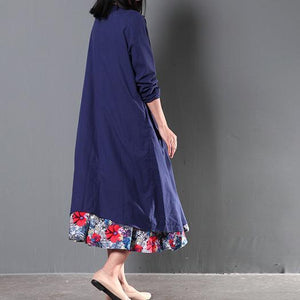 Two pieces Navy coat cardigan and floral sundress summer linen clothing