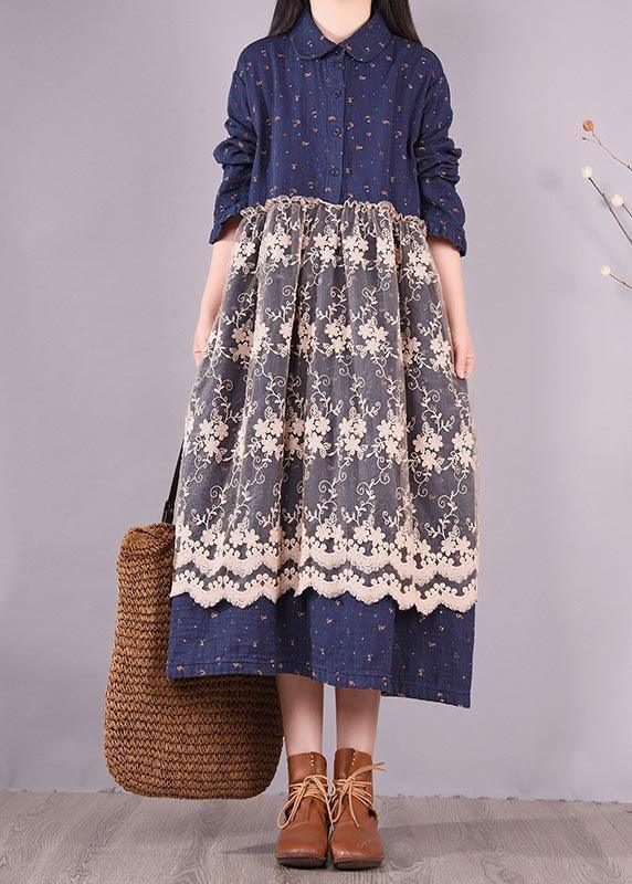 Unique Blue Print Dresses Patchwork Lace Kaftan Spring Dress