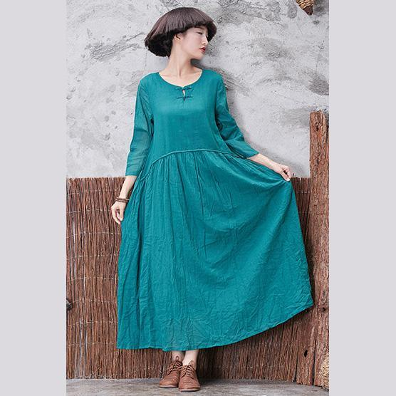 Unique Chinese Button cotton clothes For Women Runway green long Dresses bracelet sleeved