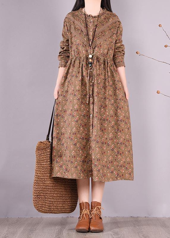 Unique Chocolate Print Wardrobes O Neck Patchwork Maxi Spring Dress