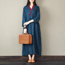 Load image into Gallery viewer, Unique Jacquard cotton v neck clothes Women Neckline blue Robe Dress