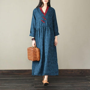 Unique Jacquard cotton v neck clothes Women Neckline blue Robe Dress