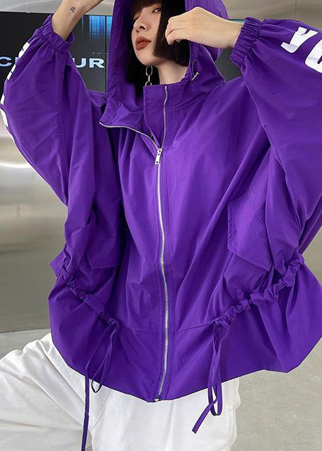 Unique Purple Cotton Letter zippered Hooded Coat Spring