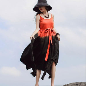 Unique Spaghetti Strap asymmetric cotton tunics for women Work orange Maxi Dresses summer