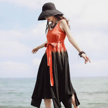 Load image into Gallery viewer, Unique Spaghetti Strap asymmetric cotton tunics for women Work orange Maxi Dresses summer