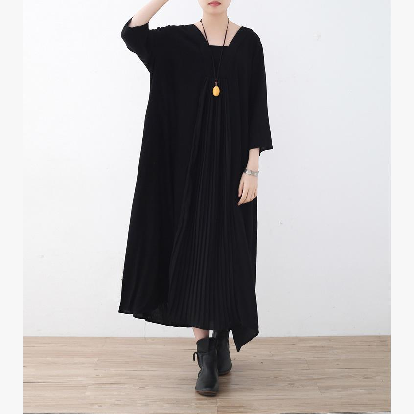 Unique Square Collar wrinkled chiffon dresses plus size Sleeve black Vestidos De Lino Dresses