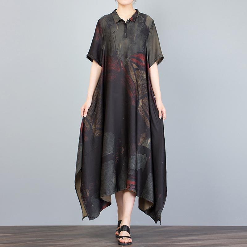 Unique Tunics Casual Stand Collar Irregular Loose Print Dress