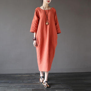 Unique Wardrobes Korea wrinkled Sewing orange Traveling V neck Dresses