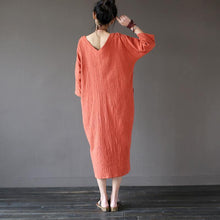 Load image into Gallery viewer, Unique Wardrobes Korea wrinkled Sewing orange Traveling V neck Dresses