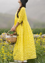 Load image into Gallery viewer, Unique Yellow Embroidery Tunic Dress O Neck Half Sleeve Maxi Dresses