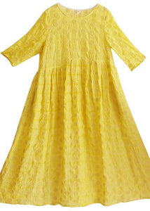 Unique Yellow Embroidery Tunic Dress O Neck Half Sleeve Maxi Dresses