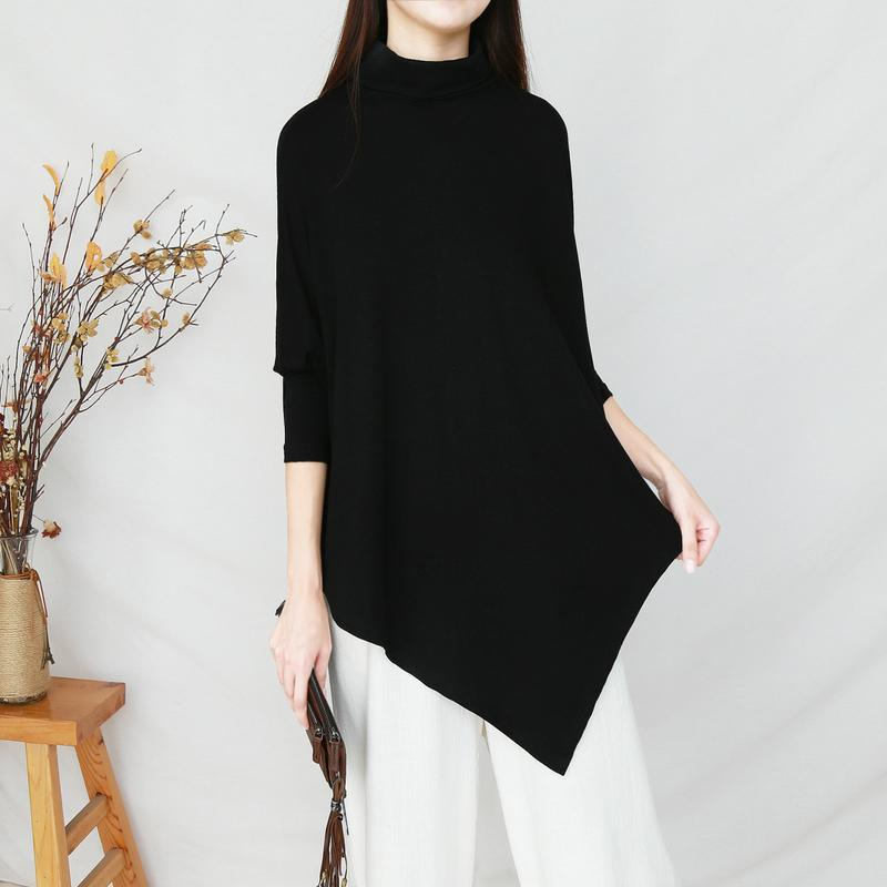 Unique asymmetric cotton fall Tunic Sleeve black high neck shirts