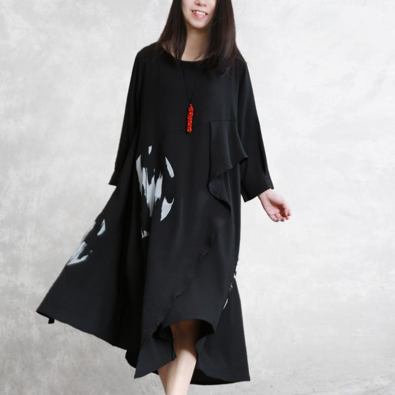 Unique asymmetric linen Robes plus size Photography black Art Dresses