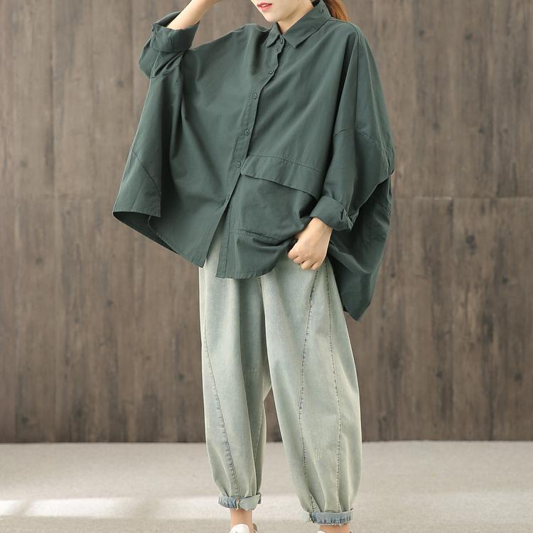 Unique blackish green tunics for women lapel Button Down top