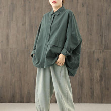 Load image into Gallery viewer, Unique blackish green tunics for women lapel Button Down top