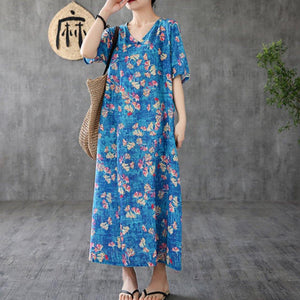 Unique blue print linen Robes o neck short sleeve Maxi Dresses