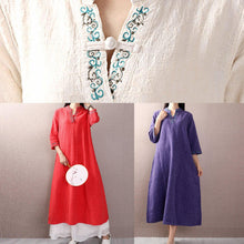 Load image into Gallery viewer, Unique bracelet sleeved linen cotton clothes Shirts blue embroidry Dresses fall