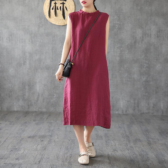 Unique burgundy linen dresses stand collar sleeveless long summer Dress