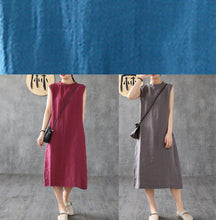 Load image into Gallery viewer, Unique burgundy linen dresses stand collar sleeveless long summer Dress