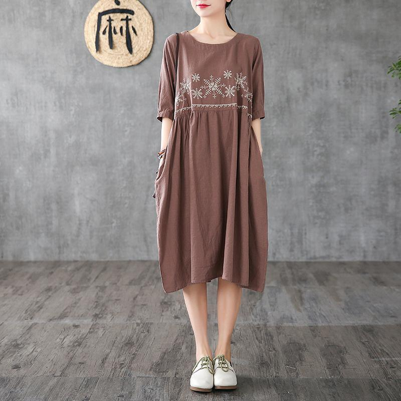 Unique chocolate embroidery linen clothes For Women o neck wrinkled long Dress
