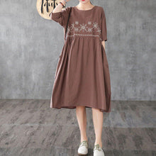 Load image into Gallery viewer, Unique chocolate embroidery linen clothes For Women o neck wrinkled long Dress