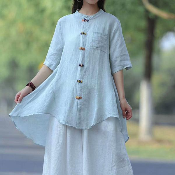 Unique cotton clothes Pakistani Vintage Summer white Solid Frog Buttons Long Shirt