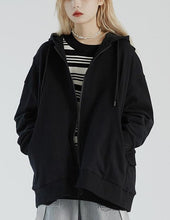 Load image into Gallery viewer, Unique dark gray Plus Size clothes Photography zippered hooded jackets