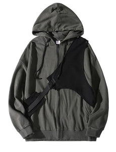 Unique dark gray Plus Size clothes Photography zippered hooded jackets