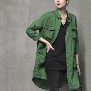 Unique four pockets cotton fall shirts women Outfits green blouse