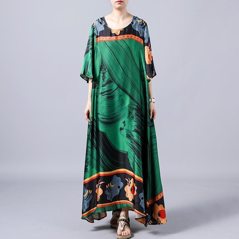 Unique green For Women Indian Retro Print Round Neck A-Line Women Dress