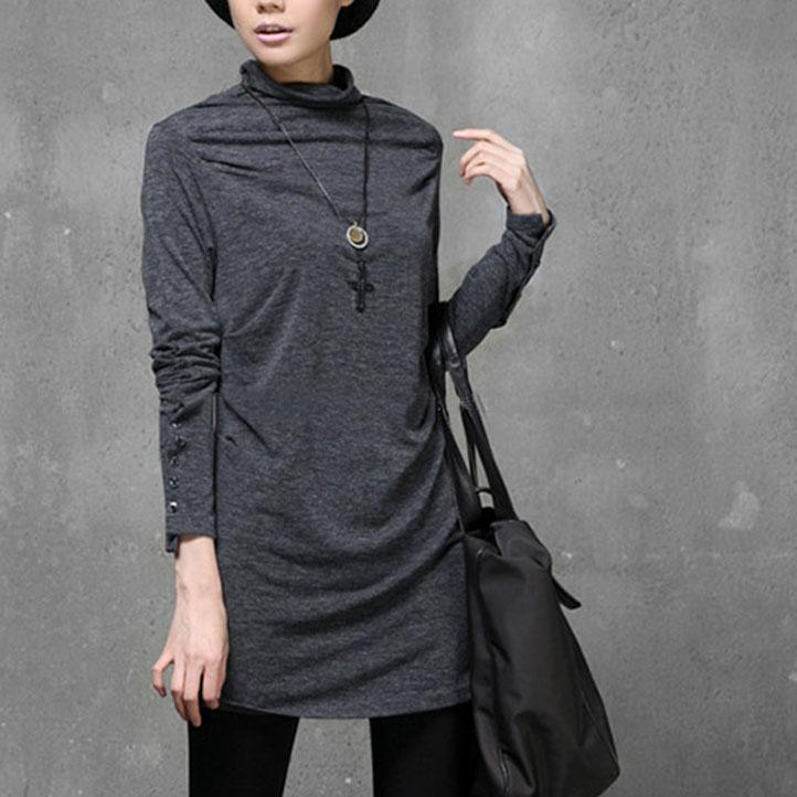 Unique high neck cotton wild shirts Sewing gray slim tops