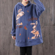 Load image into Gallery viewer, Unique hooded pockets cotton tunics for women Christmas Gifts blue print tops