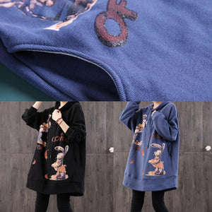 Unique hooded pockets cotton tunics for women Christmas Gifts blue print tops