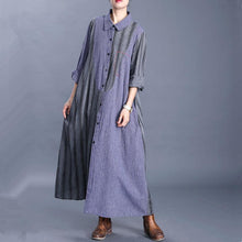 Load image into Gallery viewer, Unique lapel Button Down Fashion trench coat blue patchwork striped cardigan