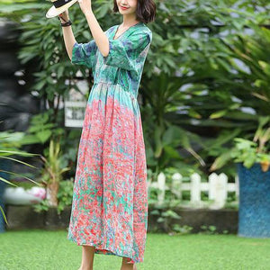 Unique linen dresses Vintage Print Floral V-Neck Dress