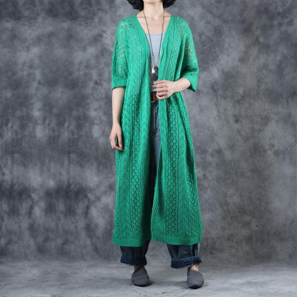 Unique linen green clothes Fashion Linen Solid Half Sleeve V-Neck Hollow Out Coat