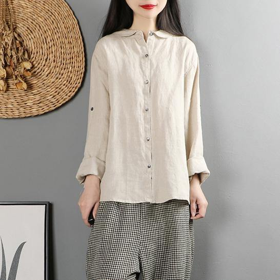 Unique long sleeve linen cotton fall shirts khaki baggy blouses