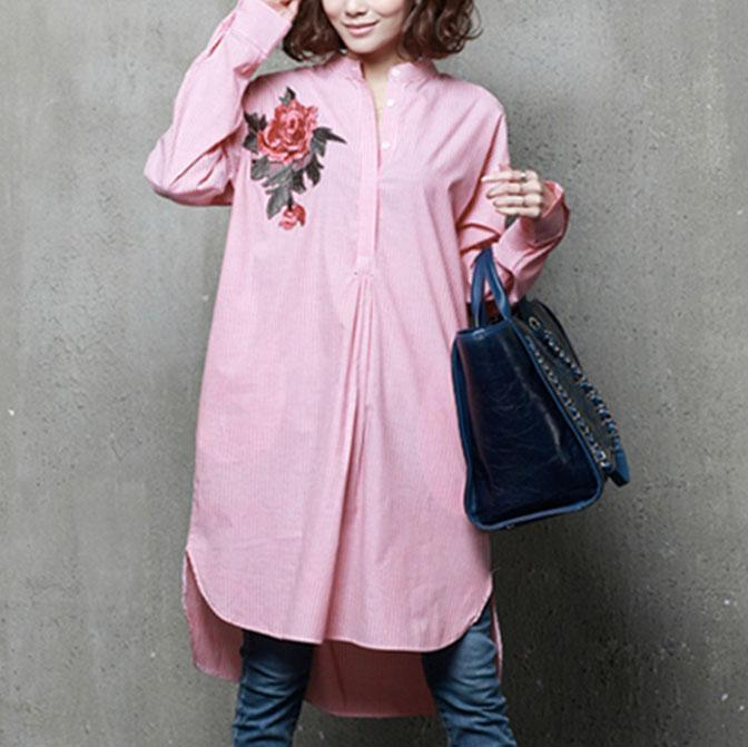 Unique low high design cotton embroidery clothes Sleeve pink blouses