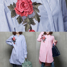 Load image into Gallery viewer, Unique low high design cotton embroidery clothes Sleeve pink blouses