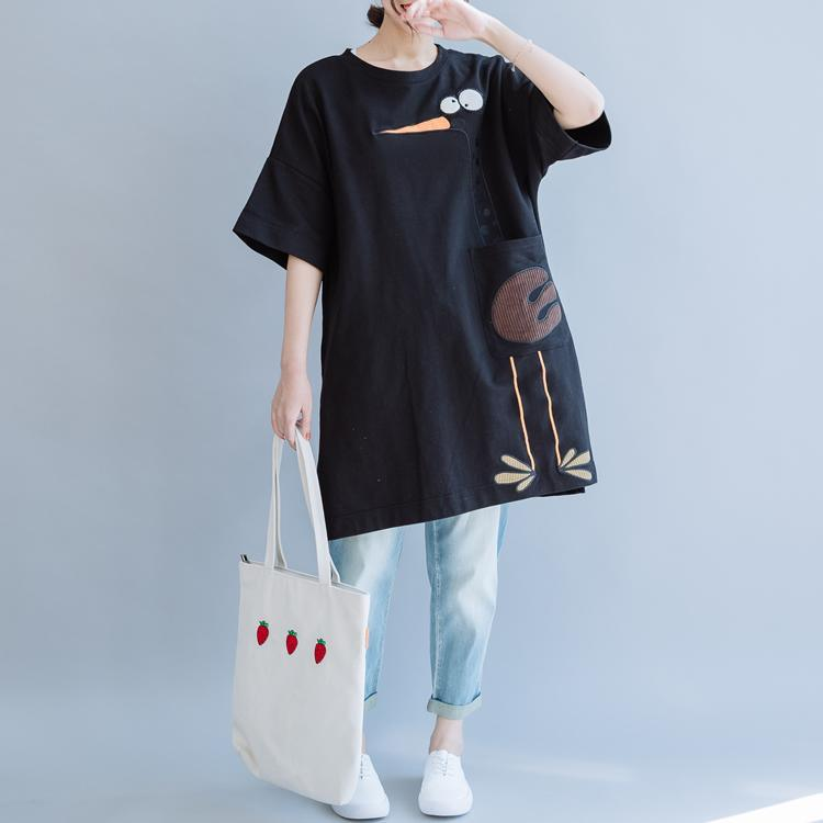 Unique o neck side open cotton Long Shirts Outfits black shirts summer