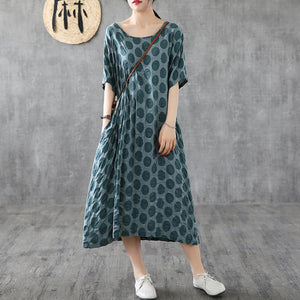 Unique patchwork o neck cotton clothes Photography green dotted Maxi Dress summer