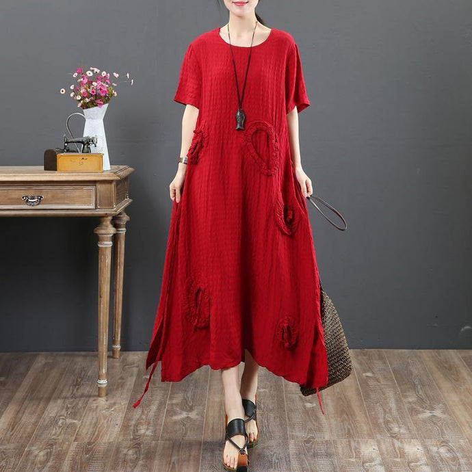 Unique red linen outfit boutique Shape o neck side open Traveling Summer Dresses