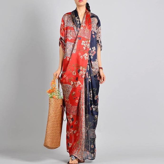 Unique red print silk Robes Korea Work Outfits v neck pockets robes spring Dress