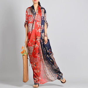 Unique Red Print Silk Robes Korea Work Outfits V Neck Pockets Robes Spring Dress ( Limited Stock)