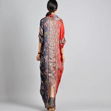 Load image into Gallery viewer, Unique red print silk Robes Korea Work Outfits v neck pockets robes spring Dress