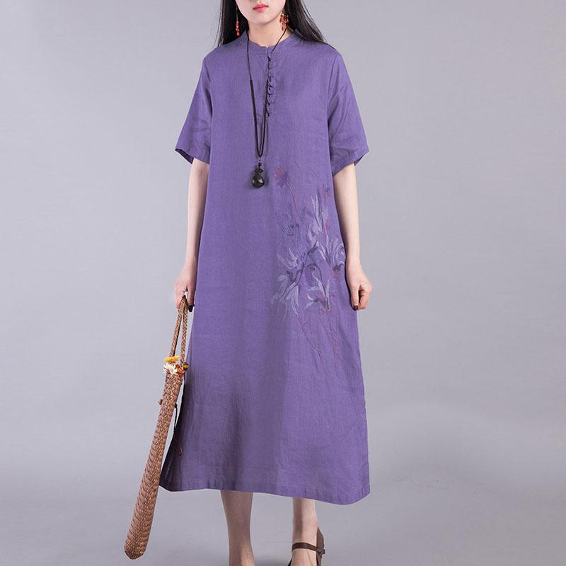 Unique short sleeve linen Long Shirts Outfits purple Dresses summer