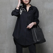 Load image into Gallery viewer, Unique side open cotton embroidery blouses for women Sleeve black blouses