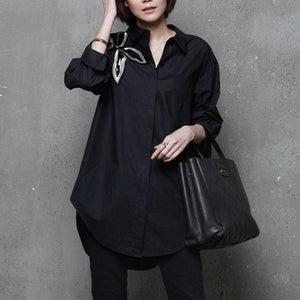 Unique side open cotton embroidery blouses for women Sleeve black blouses
