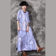 Laden Sie das Bild in den Galerie-Viewer, Unique side open linen Long Shirts Catwalk blue prints Dresses o neck sundress